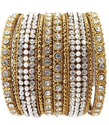 Buy Bridal Collection 6pc Pearl Cubic Zirconia Gold Plated Bangle Set bangles-and-bracelet online