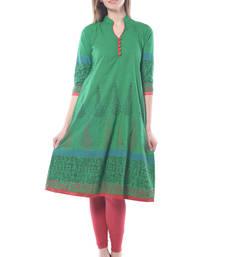 Buy Green cotton block print stitched kurti long-kurti online