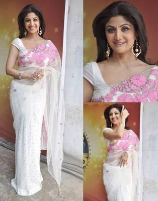 Shilpa shetty white & pink saree