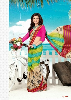 Bhuwal FashionCreme Pink Red Green Georgette Saree  with UnStiched Blouse