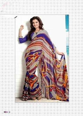 Bhuwal FashionBlue Grey Multi Color Georgette Saree  with UnStiched Blouse