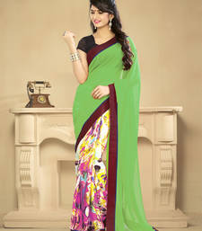 59e2a478c60 Buy Green printed art silk saree with blouse party-wear-saree online