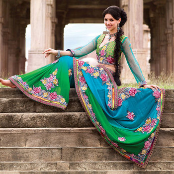 Bember silk saree in green and blue shades with colorful embroidery work
