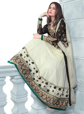 Triveni Miraculous Cream Colored Wedding Wear Semistitched Long Anarkali TSANSK7004