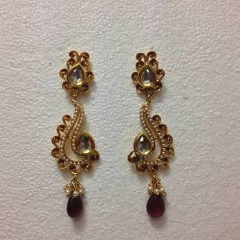 Kundan Swan shaped dangler earring in Purple