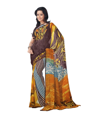 Dealtz Fashion Brown Multi Georgette   Saree