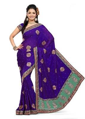 ISHIN Faux Chiffon Purple Saree MR-2115-B