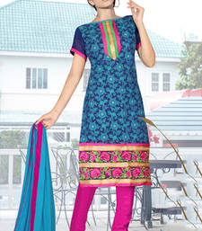 Buy Navy blue cotton silk embroidered unstitched salwar with dupatta straight-suit online