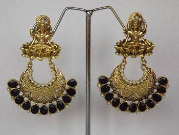 Goddess Laxmi Earrings in Antique Gold