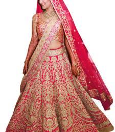 Buy Pink raw silk embroidered semi stitched lehenga choli lehenga-choli online