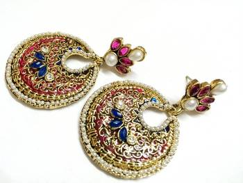 Craftstages Pink and Blue Golden Traditional Earrings