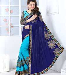 Buy Navy blue and sky blue embroidered georgette saree with blouse georgette-saree online