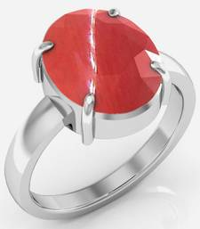 Buy Moonga 6.5 cts or 7.25 ratti Coral Moonga Ring Ring online