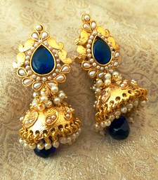 Buy Stunning Blue Bandani Golden Pearls Jhumka Earrings jhumka online