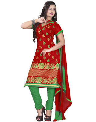 Red Colored Chanderi Silk Embroidered Unstitched Salwar Kameez