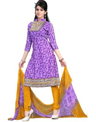 Light Purple  Colored Crepe Jacquard Embroidered Unstitched Salwar Kameez