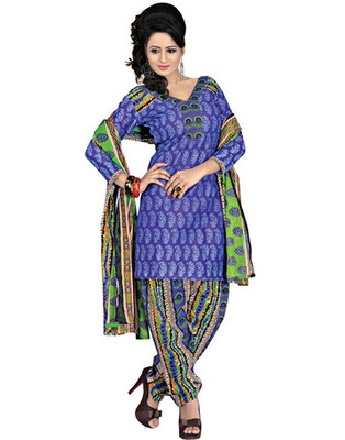 Multi  Colored Cotton Printed Un-Stitched Salwar Kameez