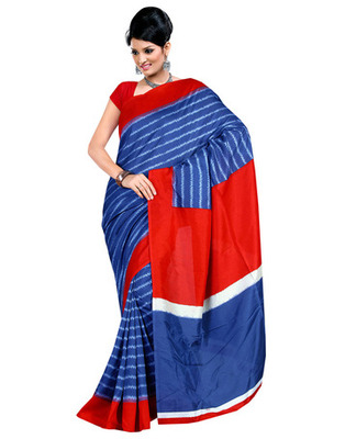 Blue Colored Raw Silk Printed Saree
