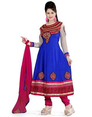 Blue Colored Georgette Embroidered Salwar Kameez