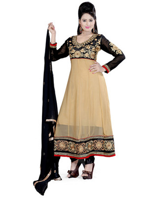 Cream  Colored Georgette Embroidered Salwar Kameez