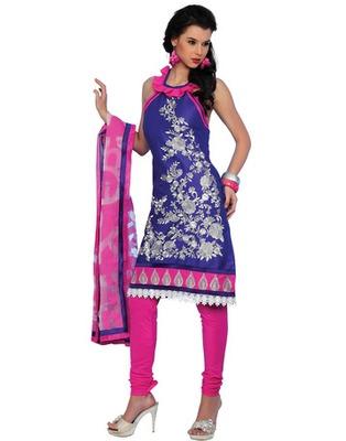 Blue Colored Cotton Embroidered Salwar Kameez