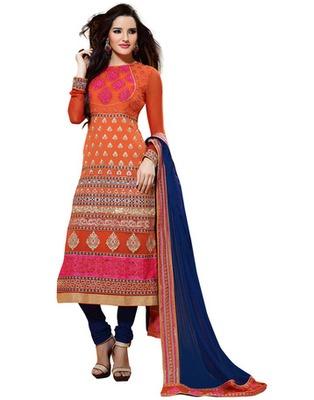 Orange Colored Viscose Embroidered Salwar Kameez