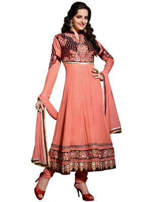 Salmon Colored Viscose Embroidered Salwar Kameez