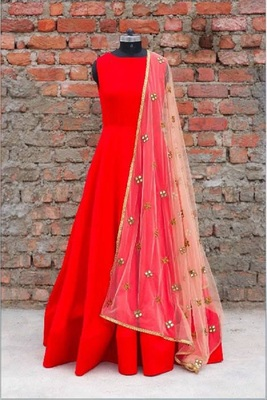Red art silk embroidered semi stitched salwar with dupatta
