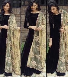 Buy black bhagalpuri silk embroidered semi stitiched salwar with dupatta anarkali-salwar-kameez online