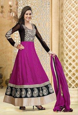 Hypnotex Pink Georgette Semi Stitch Dress Avtar 103