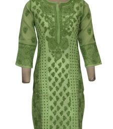 Buy green cotton embroidered chikankari anarkali kurti heavy-work-kurtis online