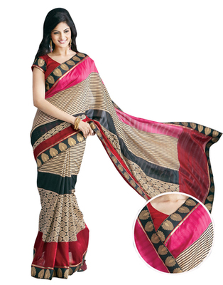 Dealtz Fashion Bhagalpuri Silk Multi Colour Saree