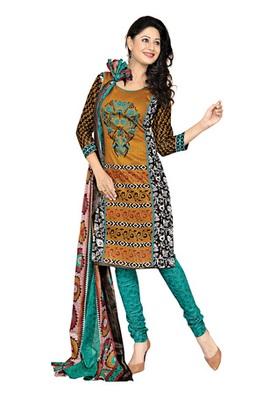 Dealtz Fashion Golden Cotton Printed Salwar Kameez - Dress Material