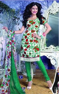 Spun Cotton Lacer Salwar Kameez Churidar Dress Meterial SC1058C