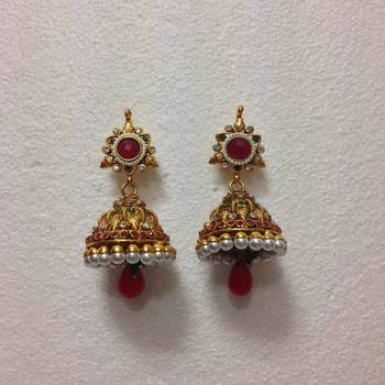 South India Style Designer Earrings With Pearls In White