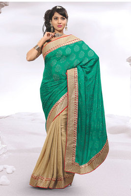 Green and Cream Zari and Patch-patti Worked Saree with Jacquard Butta