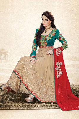 Magnificent Cream Georgette Fancy Suit Showing Zari Resham Embroidery Work