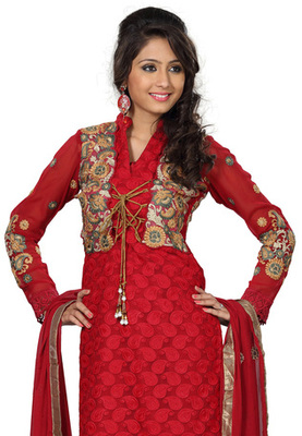 Fabdeal Red Colored Georgette Embroidered Semi-Stitched Salwar Kameez