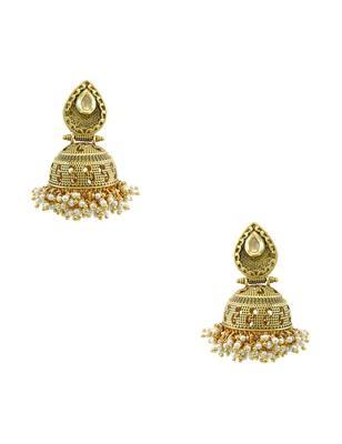 Golden Beige Traditional Jhumki Earrings Jewellery for Women - Orniza