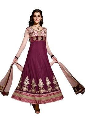 Fabdeal Dark Purple Colored Viscose Embroidered Semi-Stitched Salwar Kameez