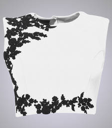 Buy White raw silk embroidered unstitched blouse fabric blouse-fabric online