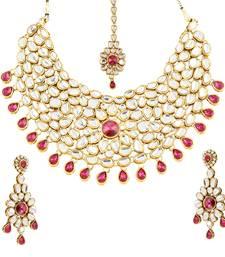 Buy Bridal style kundan baby pink cubic zirconia gold plated necklace set bridal-set online