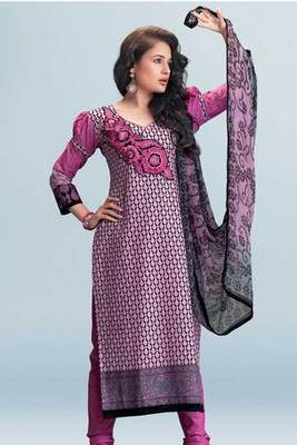 Pink Pure Cotton Salwar Suit Showing Embroidery Printed Work