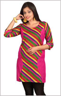 Rani Kurti with Multicolour Stripes