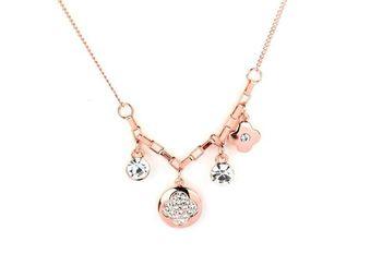 GLD-WHT  METAL Stone Studded Multi charm pendants Necklace - By Dealtz Fashion
