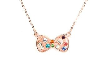 GOLD  METAL Multi Colour stone studded Bow Pendant Necklace with logo  - By Dealtz Fashion