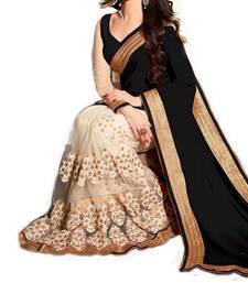 Buy black hand woven faux georgette saree With Blouse half-saree online