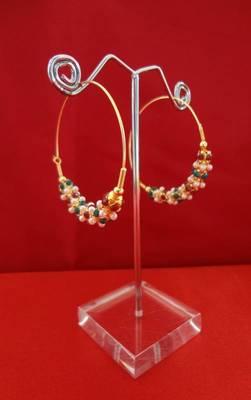 Chic Emerald,Ruby & Pearl Hoop Earrings