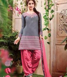Buy Grey cotton embroidered semi stitched party wear salwar suit party-wear-salwar-kameez online