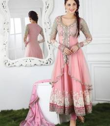 Buy Baby pink net embroidered semi stitched salwar with dupatta anarkali-salwar-kameez online